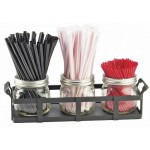 3 Jar Straw and Stir Stick Holder